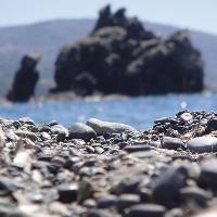 schwarze Strand der Insel Elba