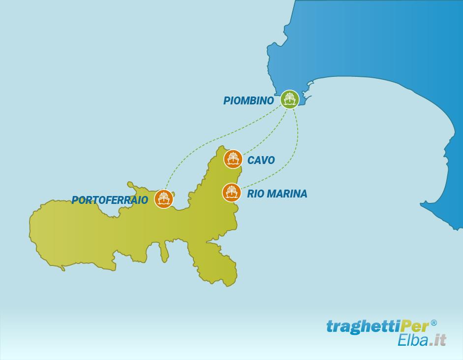 Tratta traghetto da Piombino a Portoferraio