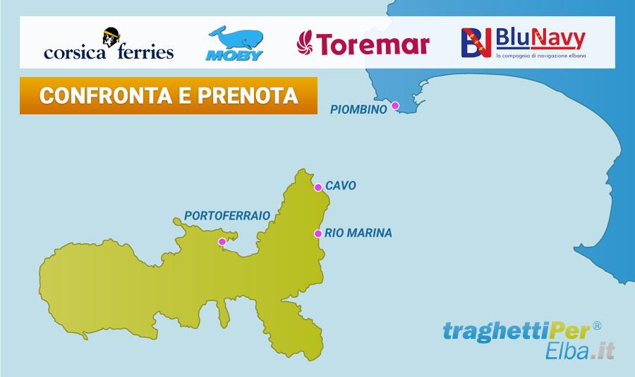 La mappa dei porti e dei traghetti per l'isola d'Elba - TraghettiPer