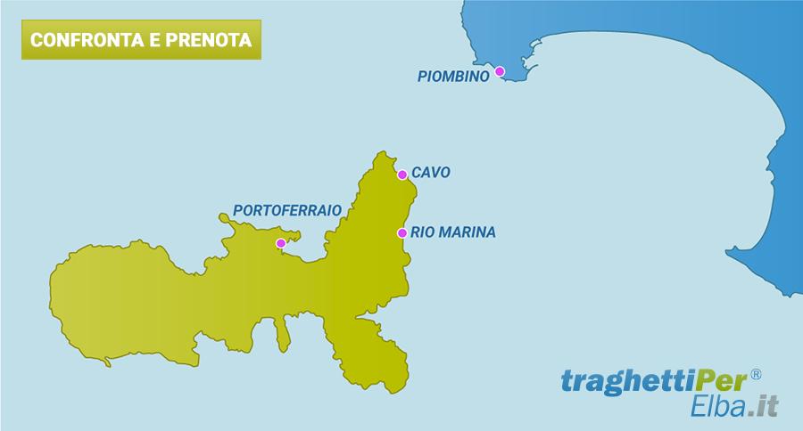 La mappa dei porti per l'isola d'Elba - TraghettiPer