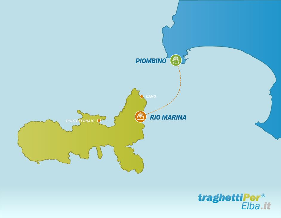 Tratta traghetto da Piombino a Rio Marina
