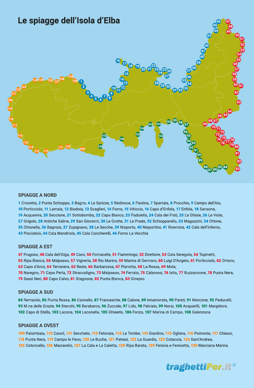 Cartina Elba Isola.Isola D Elba La Mappa Con Tutte Le Spiagge